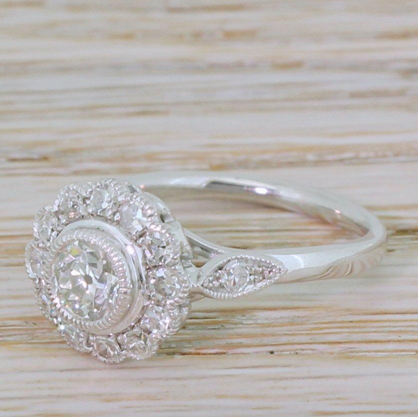 late 20th century 095 carat old cut diamond cluster ring circa 1980