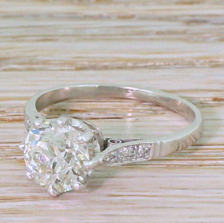 art deco 200 carat  old cut diamond engagement ring circa 1930