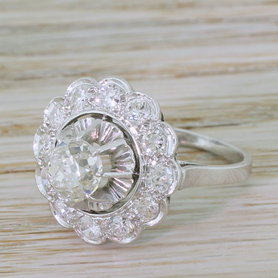 mid century 183 carat old cut diamond cluster ring french circa 1960