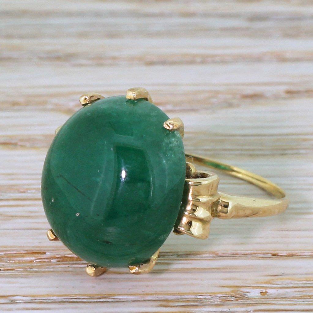 retro 1750 carat cabochon emerald solitaire ring circa 1950