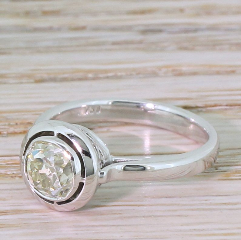 mid century 118 carat old cut diamond engagement ring circa 1965