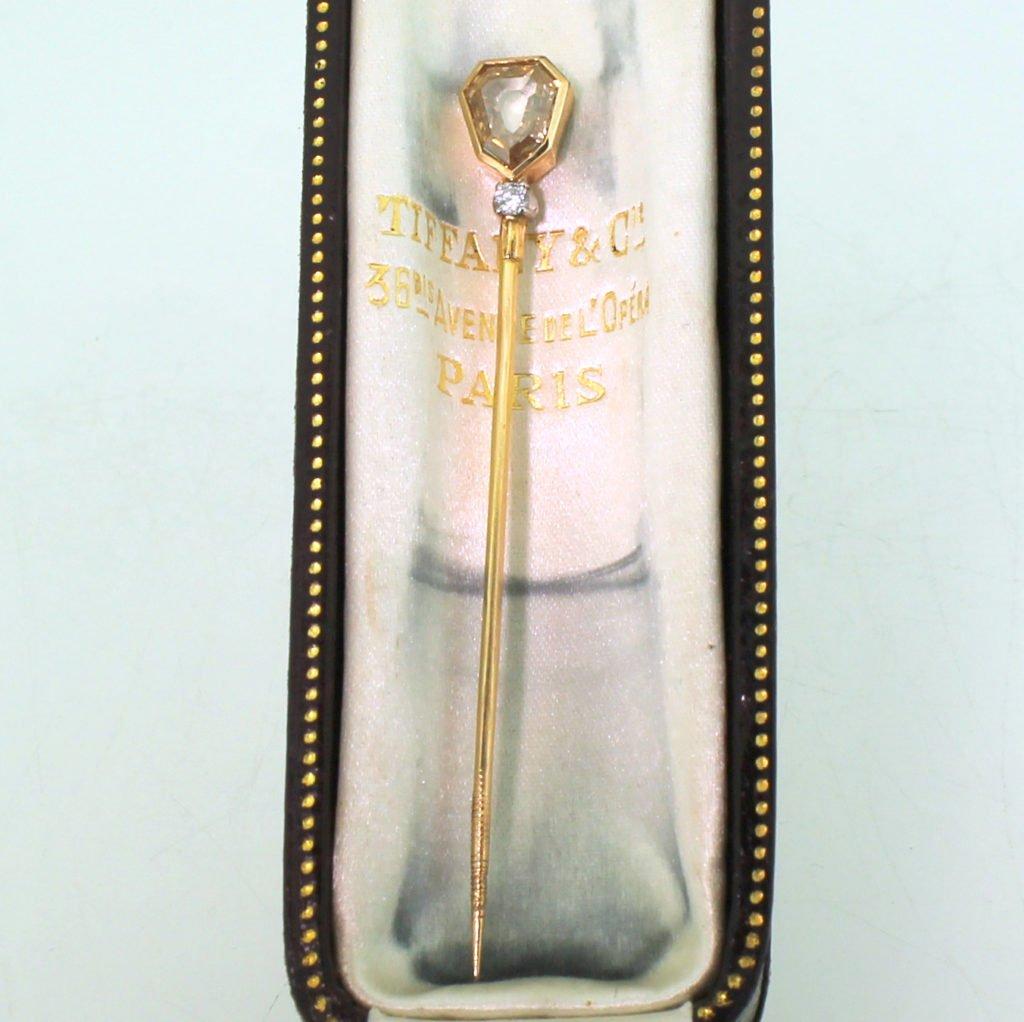 tiffany 038 co 130 carat old shield cut diamond lapel pin circa 1960