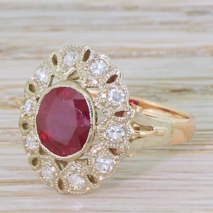 mid century 220 carat ruby 038 diamond cluster ring circa 1960