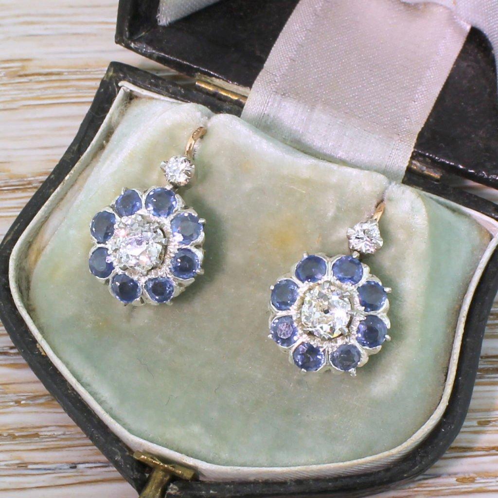 victorian 149 carat diamond 038 288 carat sapphire earrings circa 1900