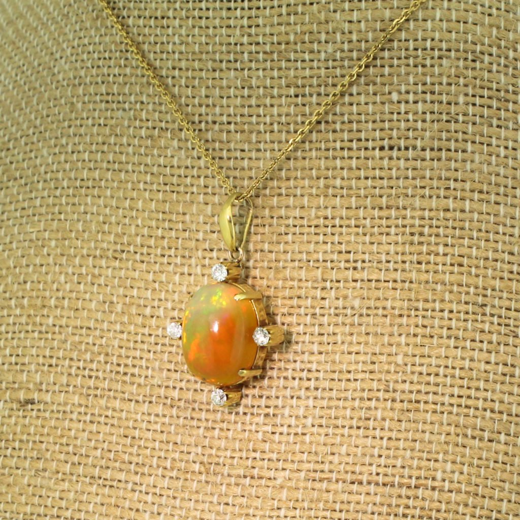 art deco 767 carat natural opal 038 old cut diamond circa 1935