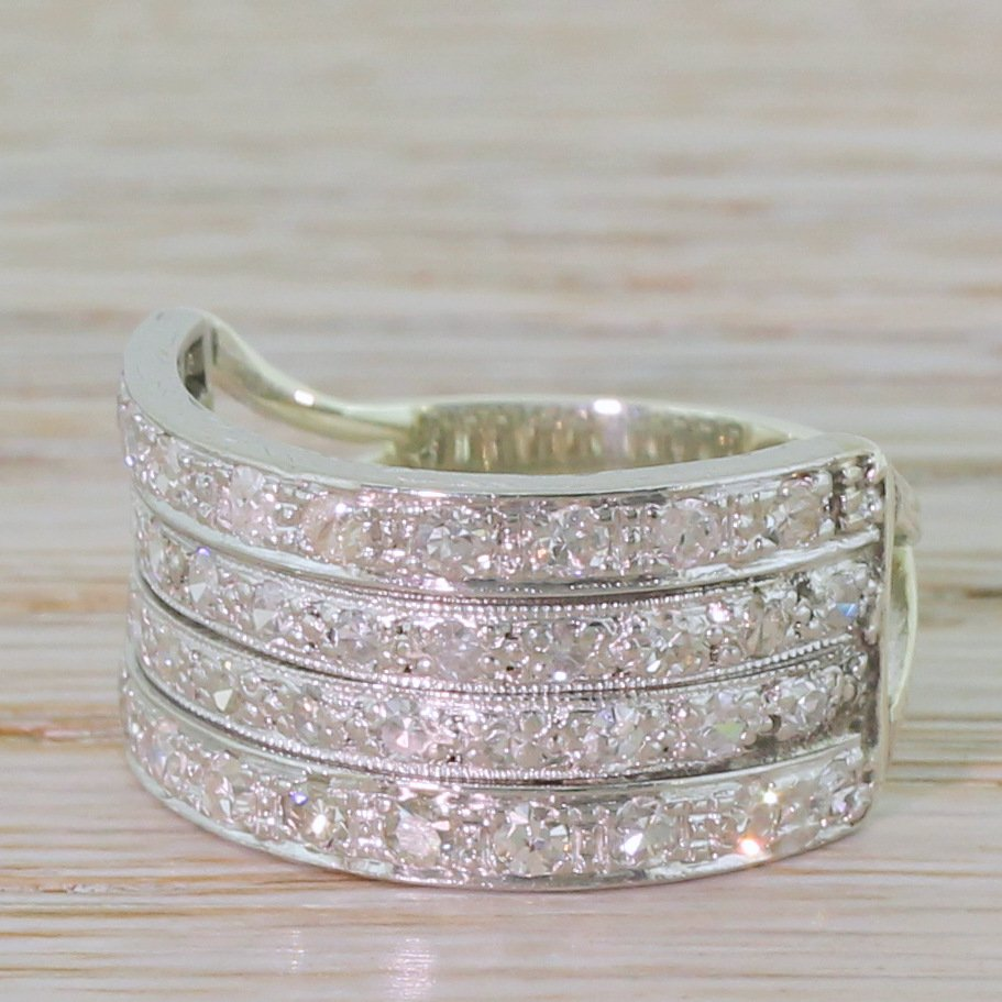 art deco 086 carat diamond four row ring circa 1940