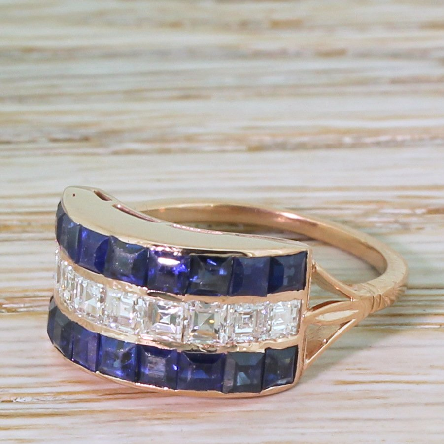 art deco 200 carat sapphire 038 100 carat carr cut diamond ring circa 1915