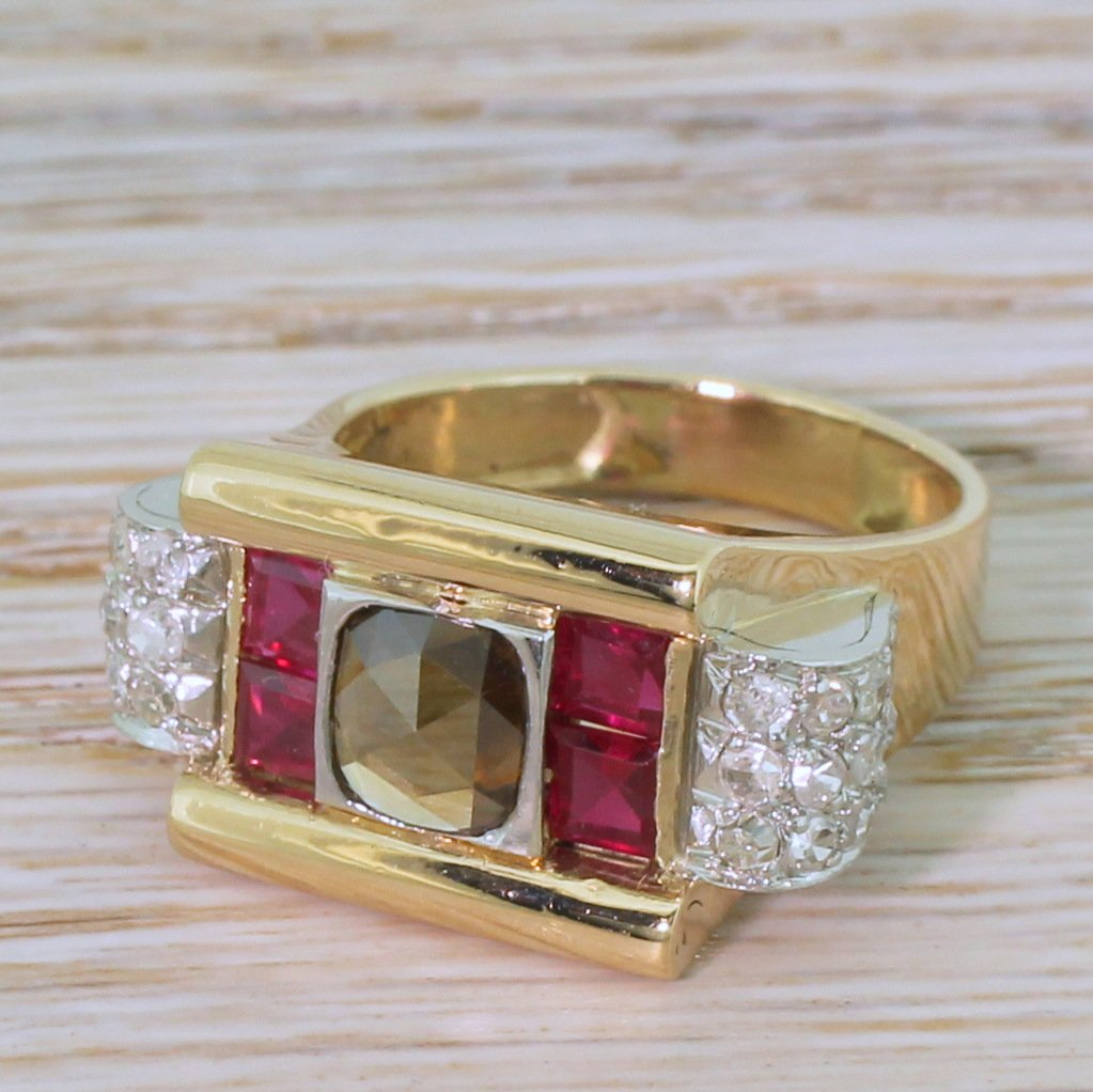retro 059 carat fancy brown rose cut diamond 038 ruby ring circa 1950