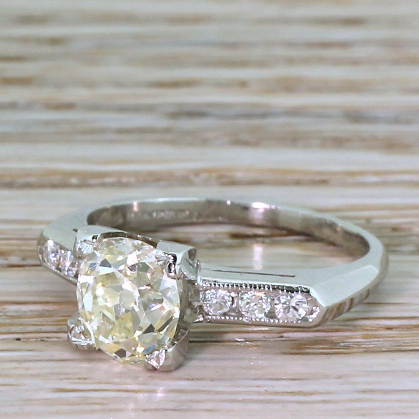 mid century 179 carat old cut diamond engagement ring circa 1950
