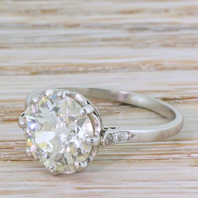 art deco 271 carat old cut diamond engagement ring circa 1940