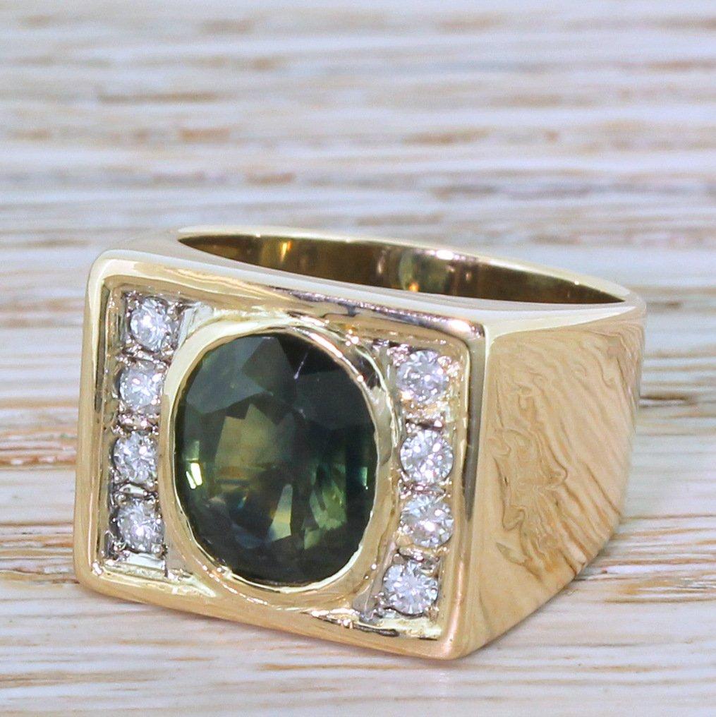 mid century 414 carat green sapphire 038 diamond ring circa 1965