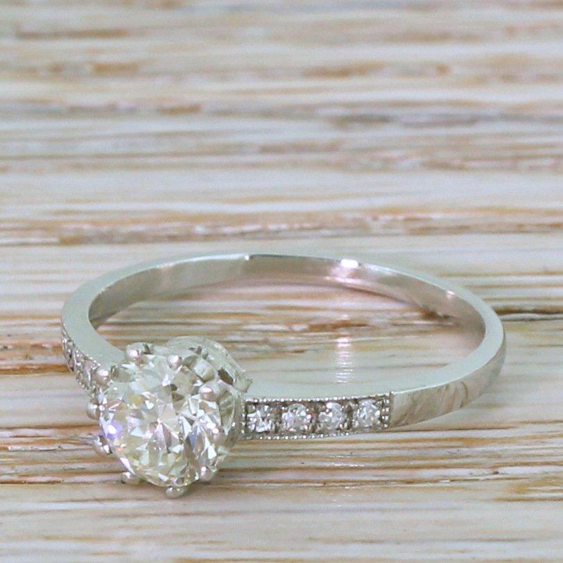 art deco 077 carat old cut diamond engagement ring circa 1920