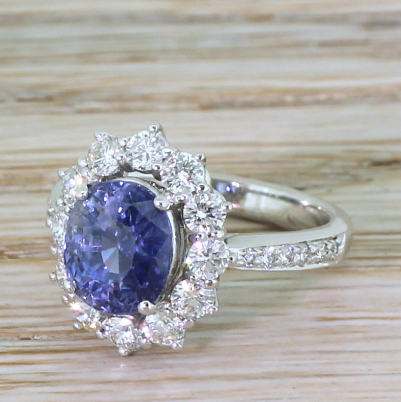 late 20th century 342 carat natural sapphire 038 diamond cluster ring circa 1970