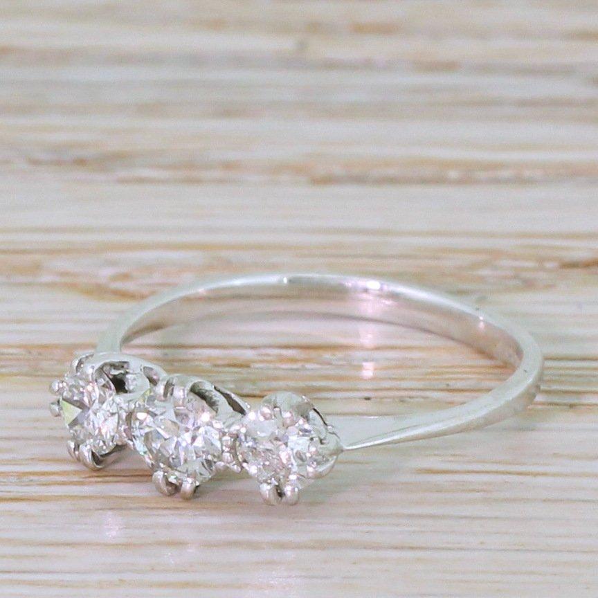 065 carat old cut diamond trilogy ring 18k white gold 038 platinum