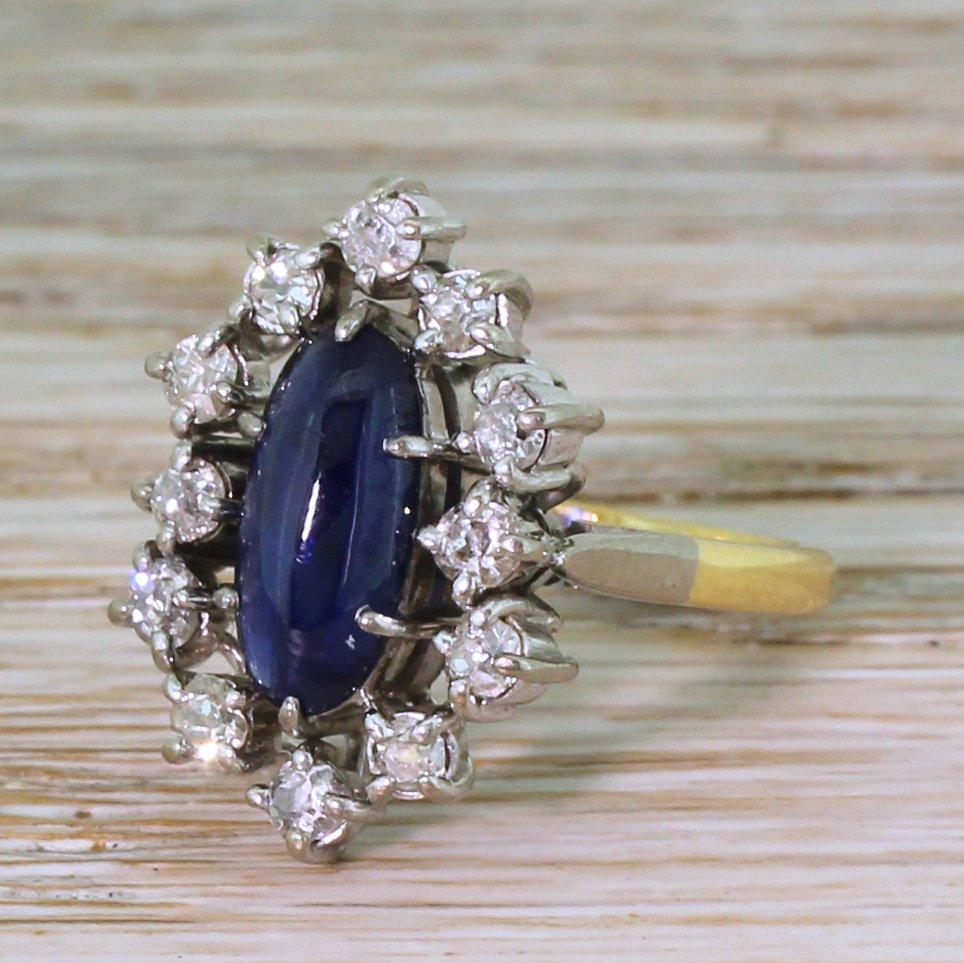 mid century 220 carat cabochon sapphire 038 old cut diamond ring circa 1965