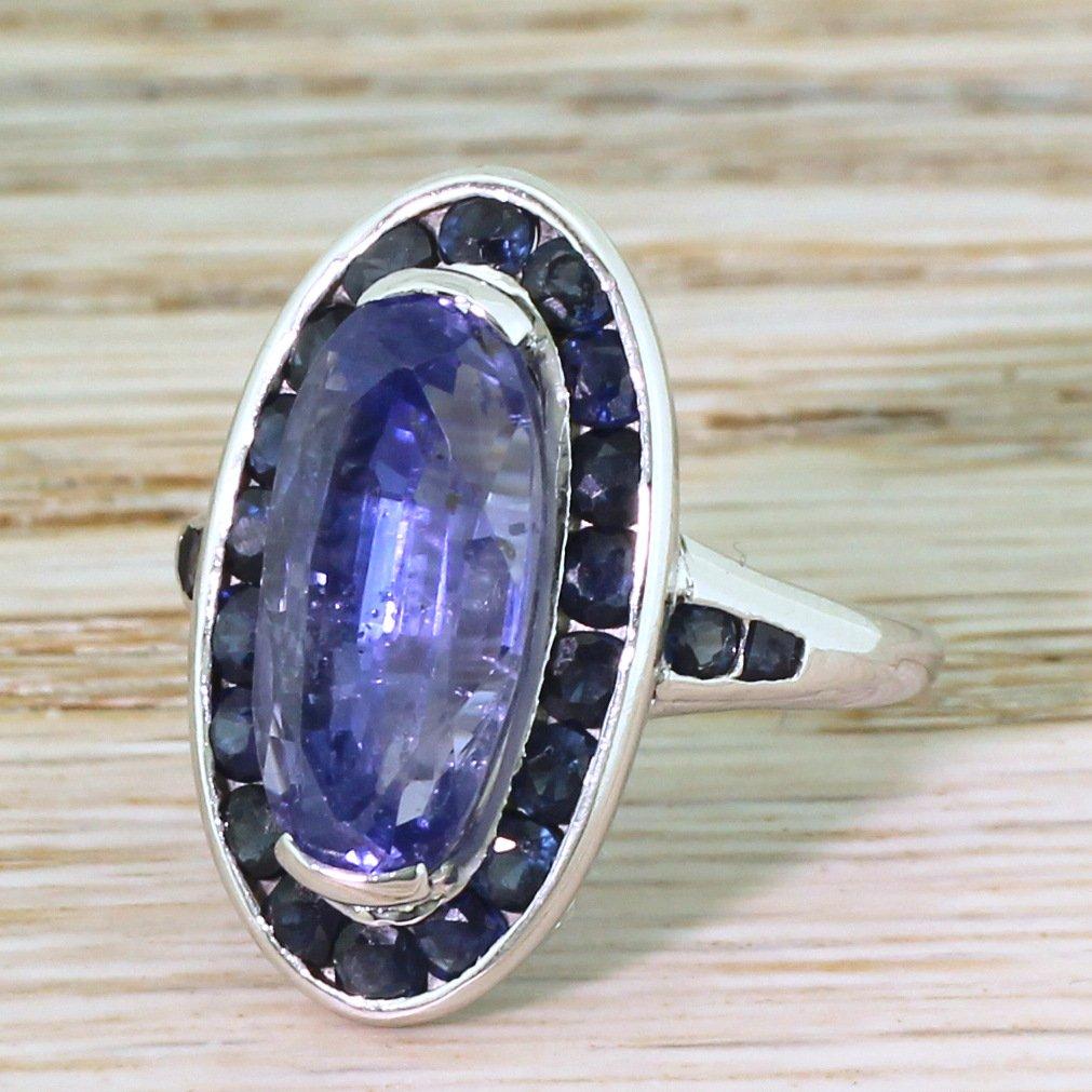 retro 724 carat  108 carat natural ceylon sapphire cluster ring circa 1950