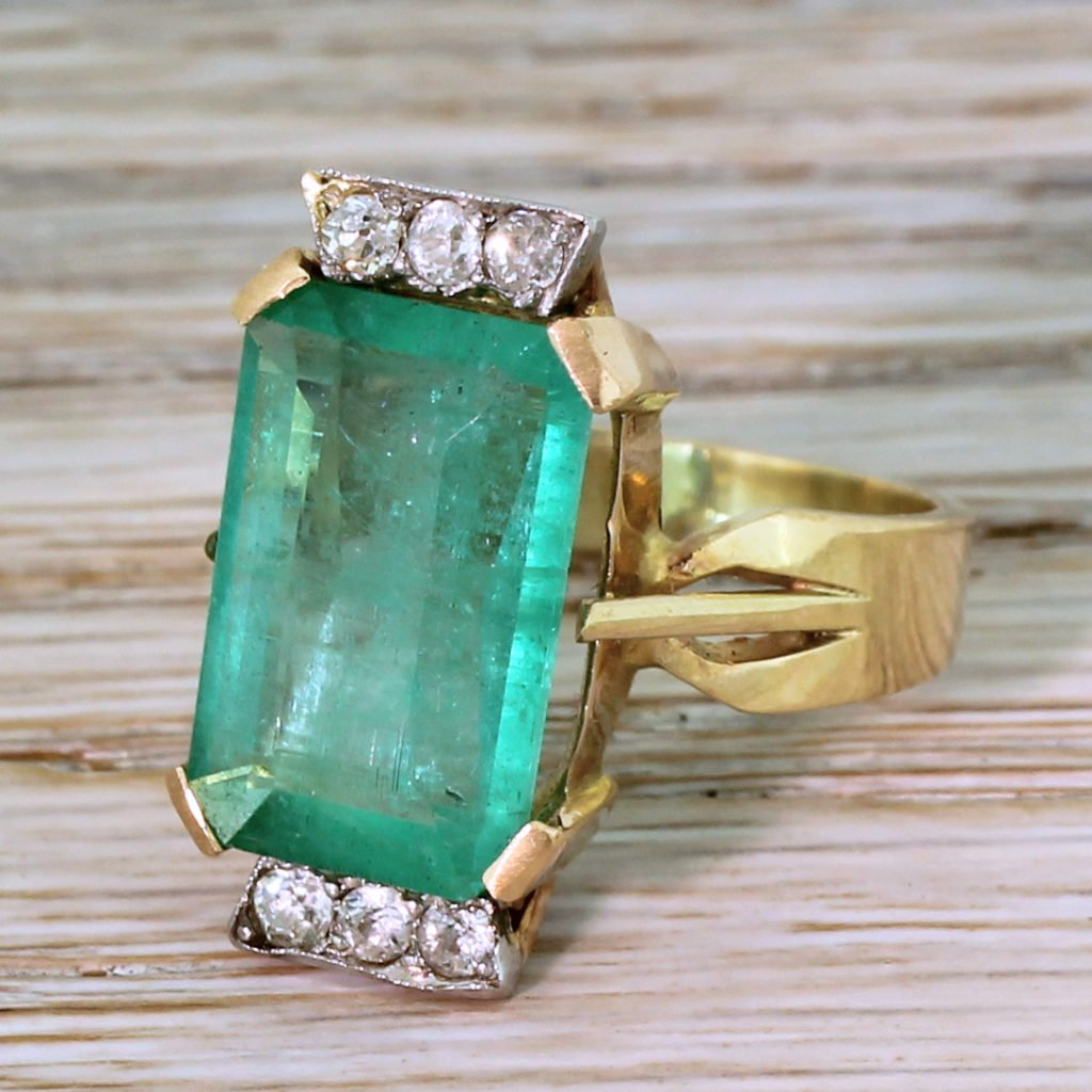 retro 520 carat emerald 038 diamond ring circa 1955