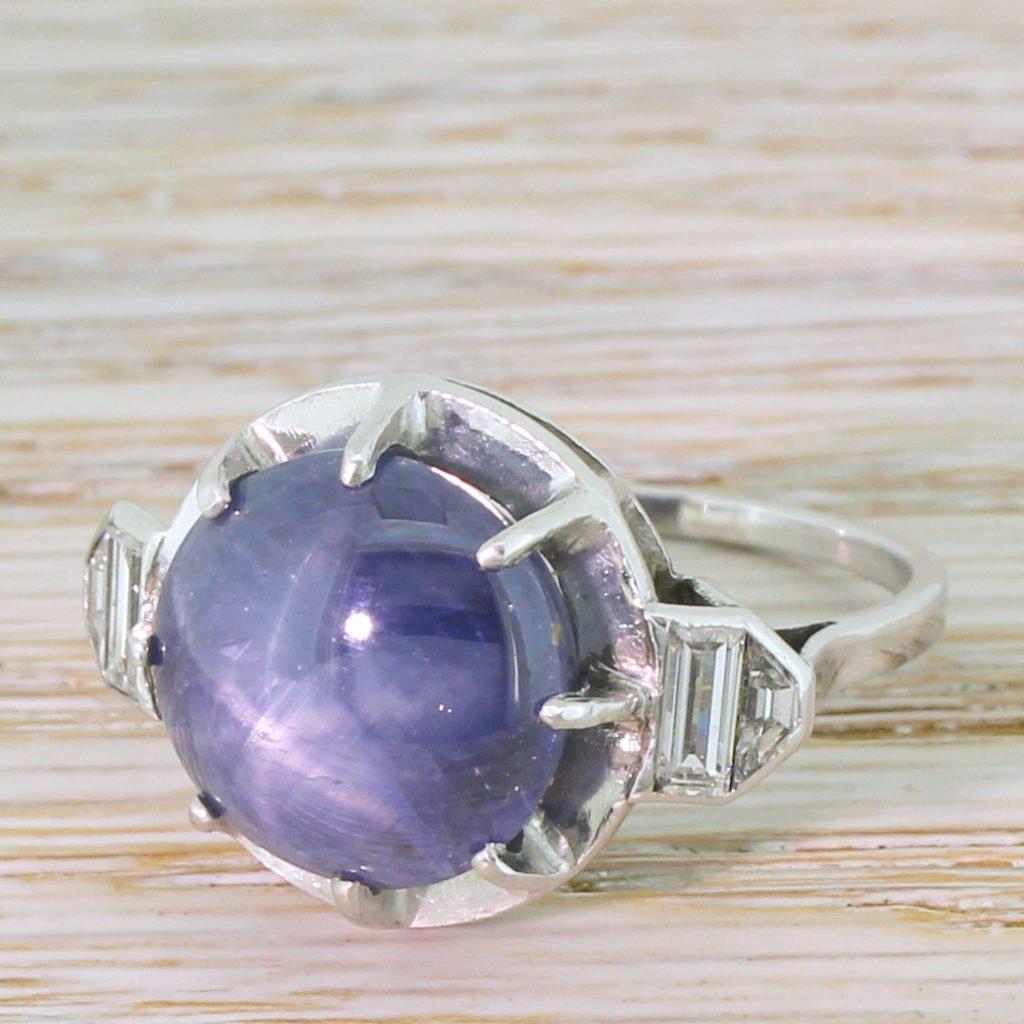 mid century 1100 carat star sapphire solitaire ring circa 1965