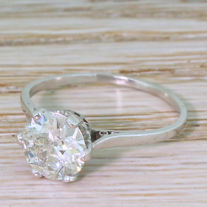 mid century 181 carat old cut diamond engagement ring circa 1945
