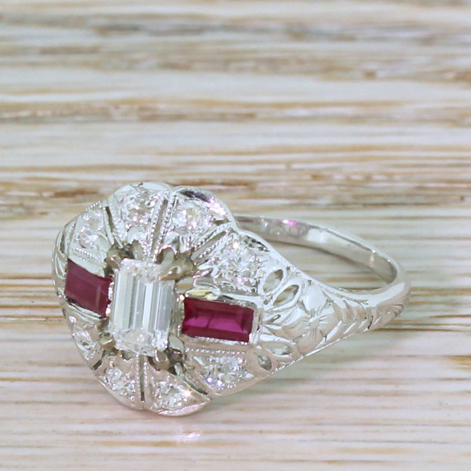 retro emerald cut diamond 038 ruby ring circa 1950