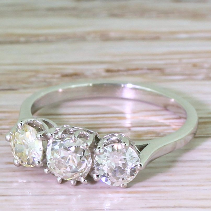 art deco 148 carat cushion 038 round old cut diamond trilogy ring circa 1945