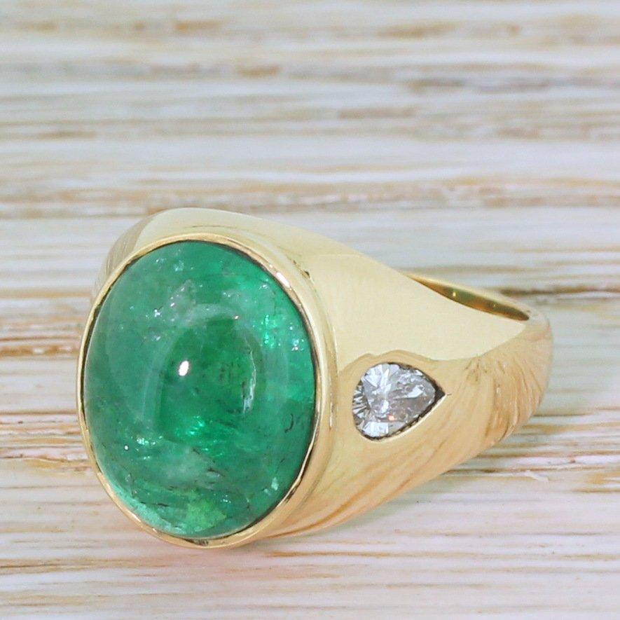 mid century 710 carat cabochon emerald 038 pear cut diamond ring circa 1960