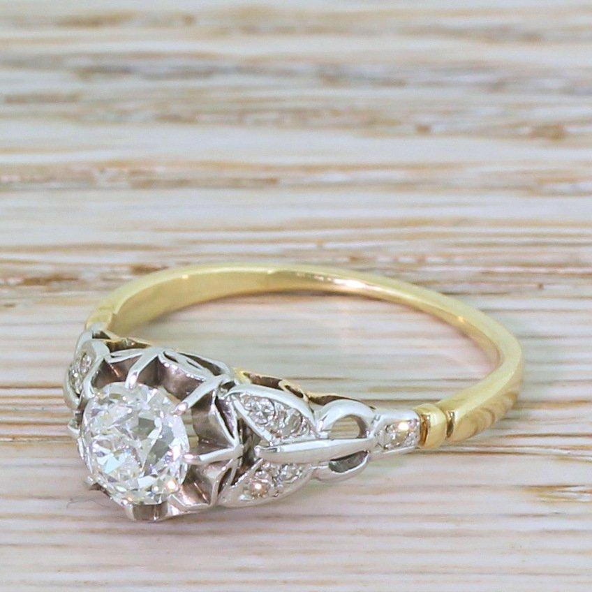 edwardian 071 carat old cut diamond engagement ring circa 1910