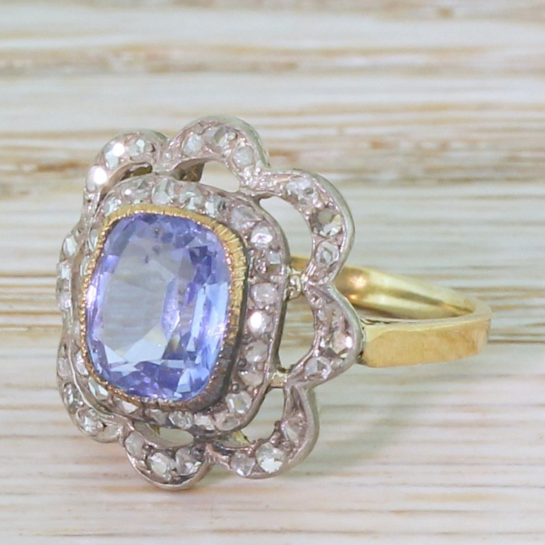 edwardian 200 carat sapphire 038 100 carat rose cut diamond ring circa 1905