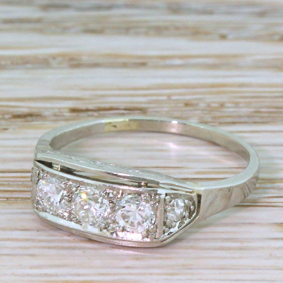 art deco 054 carat old cut diamond trilogy ring circa 1940