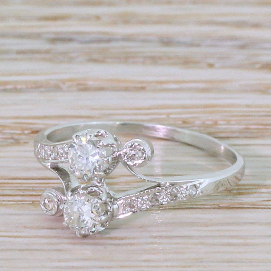 art deco 045 carat old cut diamond two stone ring circa 1930