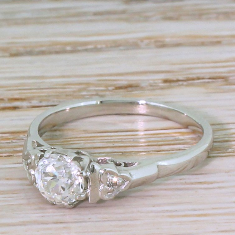 art deco 066 carat old cut diamond engagement ring circa 1930