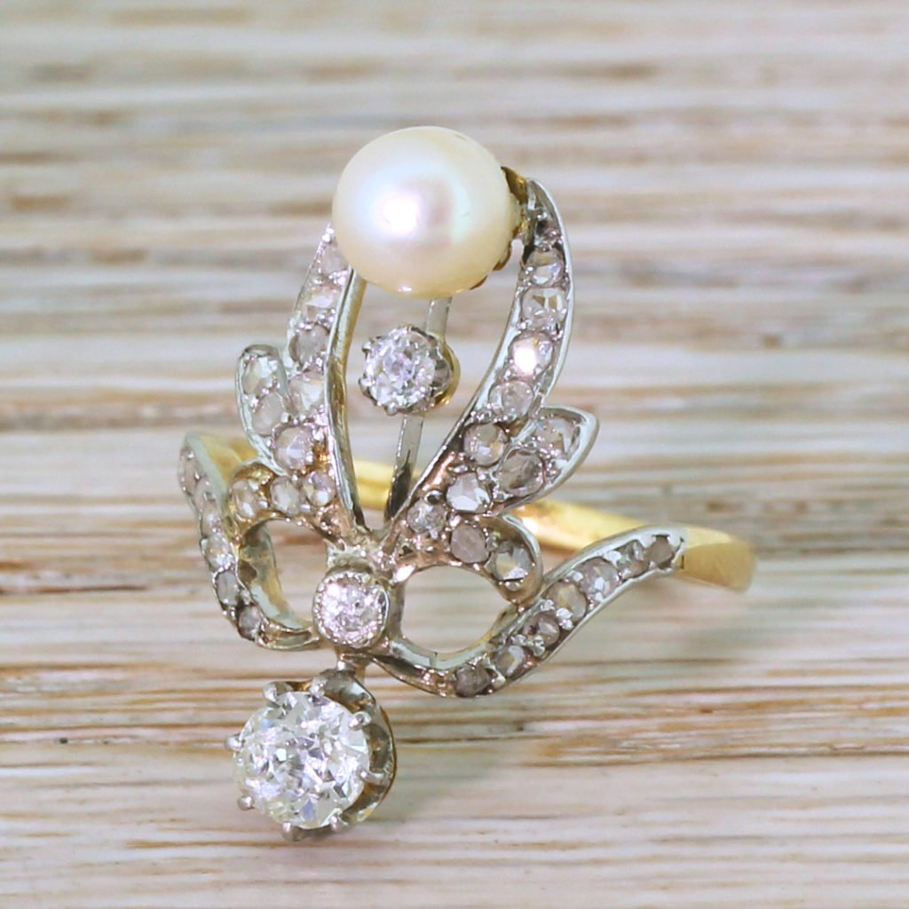 art nouveau natural pearl 038 old cut diamond ring circa 1900