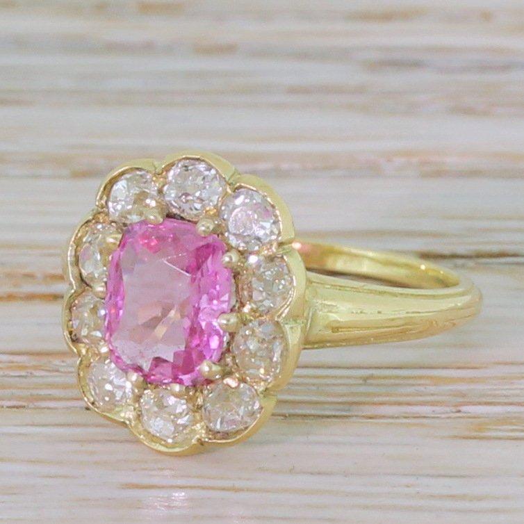 edwardian 090 carat pink sapphire 038 old cut diamond cluster ring circa 1905