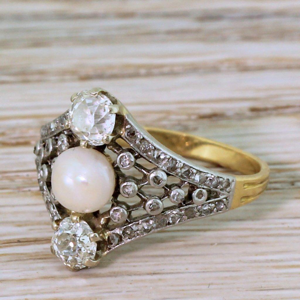 edwardian pearl 038 old cut diamond ring circa 1910