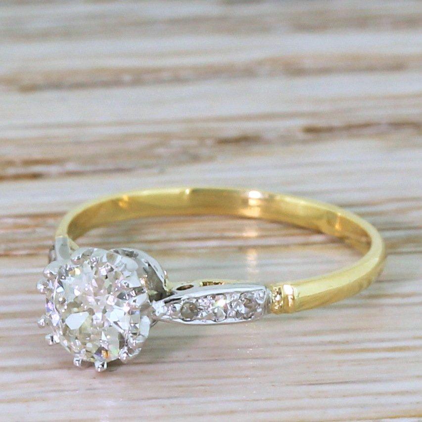 art deco 060 carat old cut diamond engagement ring circa 1940