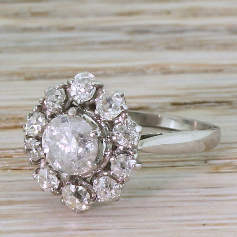 mid century 206 carat brilliant 038 old cut diamond cluster ring circa 1960