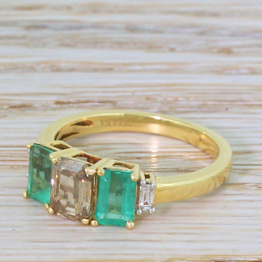 075 carat fancy brown emerald cut diamond 038 emerald trilogy ring 18k gold