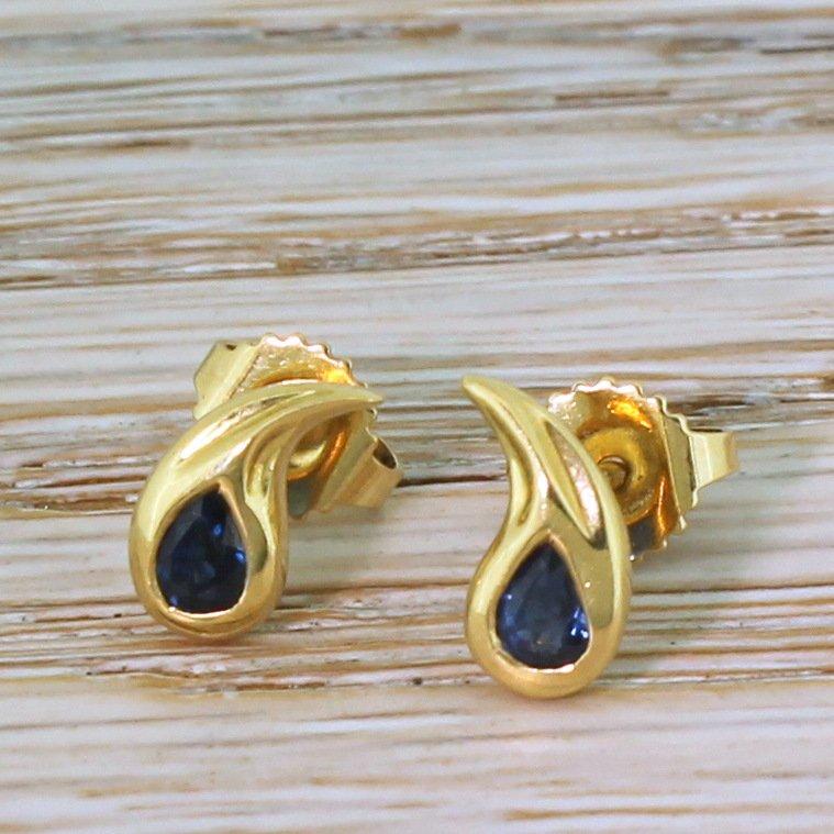 tiffany 038 co pear cut sapphire 8220comma8221 stud earrings 18k gold