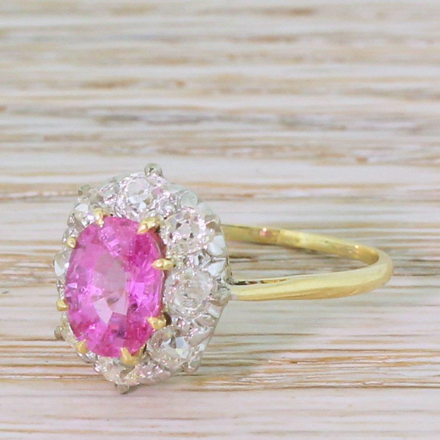 mid century 170 carat pink sapphire 038 old cut diamond ring circa 1950
