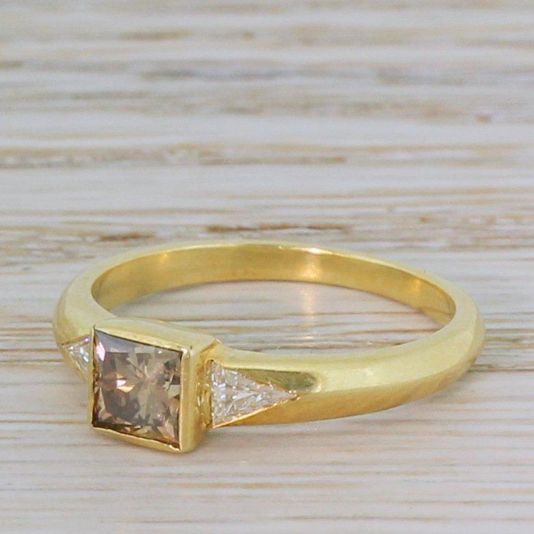 083 carat fancy brown princess cut 038 trilliant cut diamond trilogy ring
