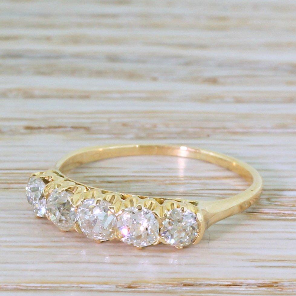 edwardian 141 carat old cut diamond five stone ring circa 1905