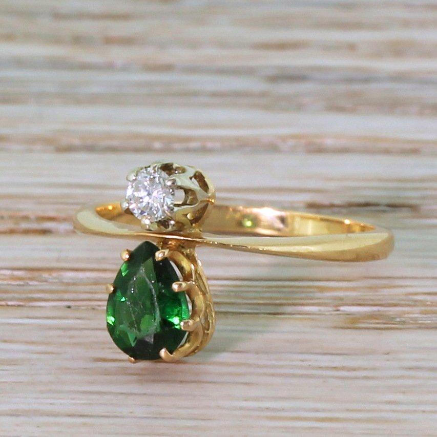 pear cut green tourmaline 038 round brilliant cut diamond ring 18k rose gold