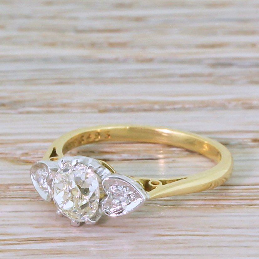 mid century 102 carat old cut diamond engagement ring dated 1964