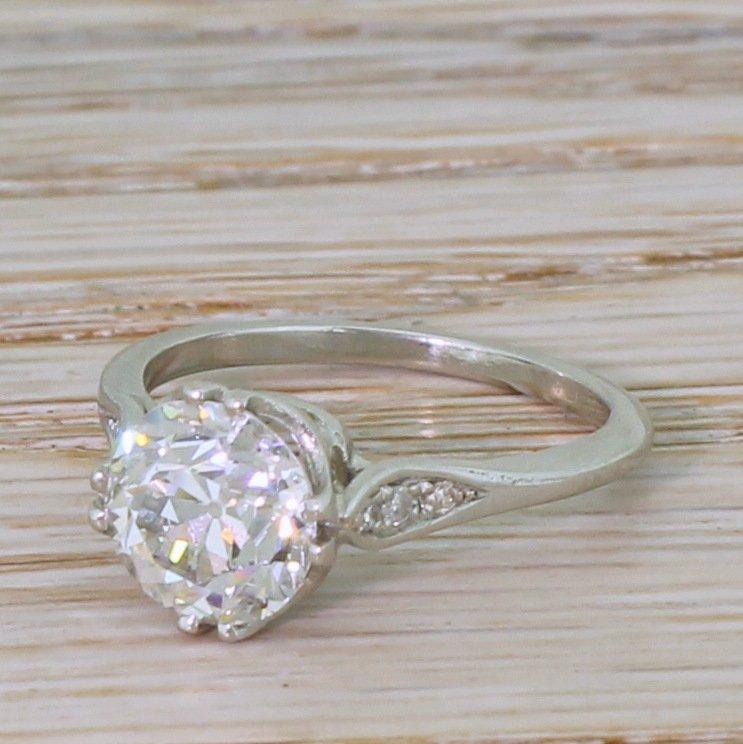 art deco 206 carat old cut diamond engagement ring circa 1920