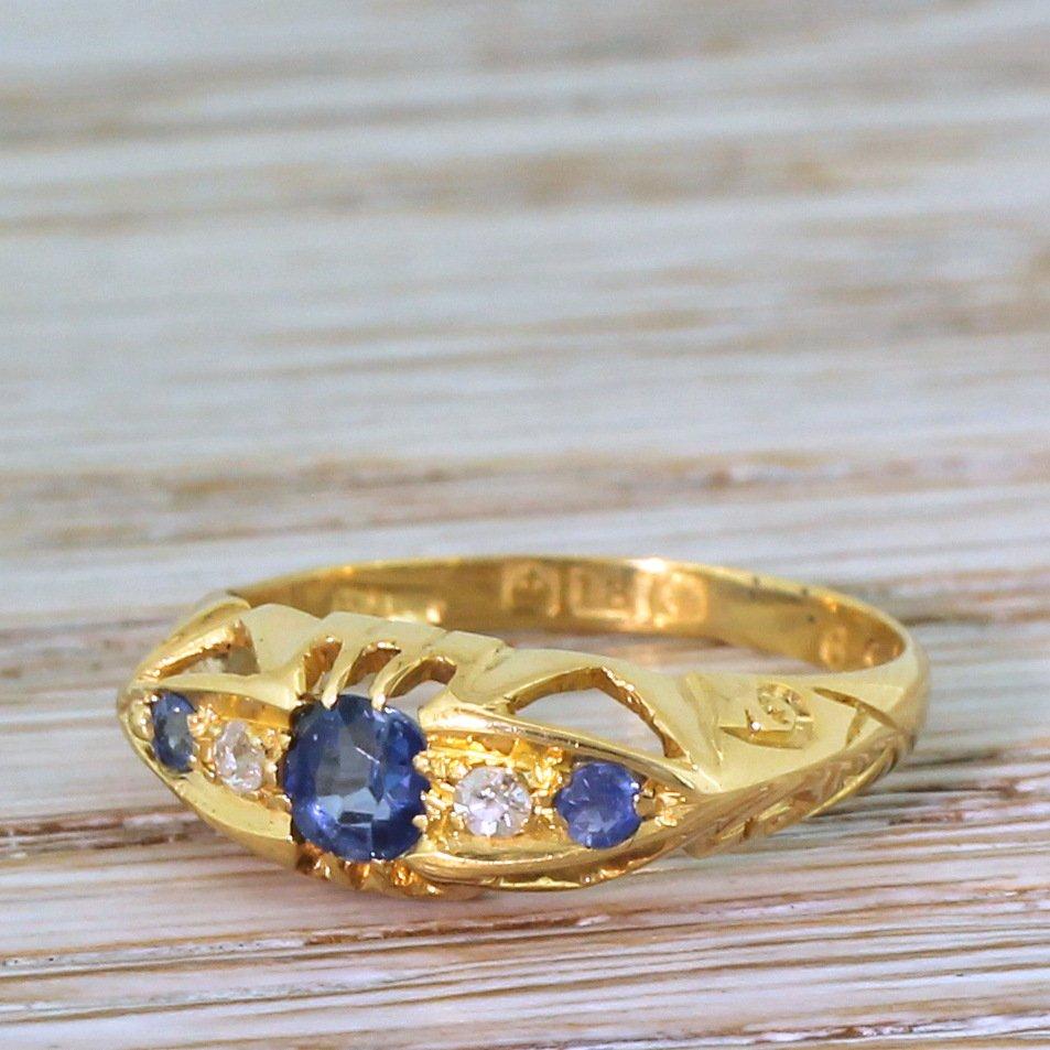 edwardian sapphire 038 diamond five stone ring circa 1910