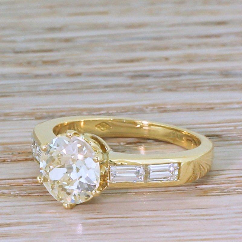 mid century 201 carat old cut diamond engagement ring circa 1950
