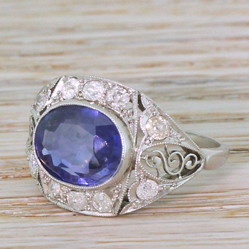 art deco 295 carat natural ceylon sapphire ring circa 1940