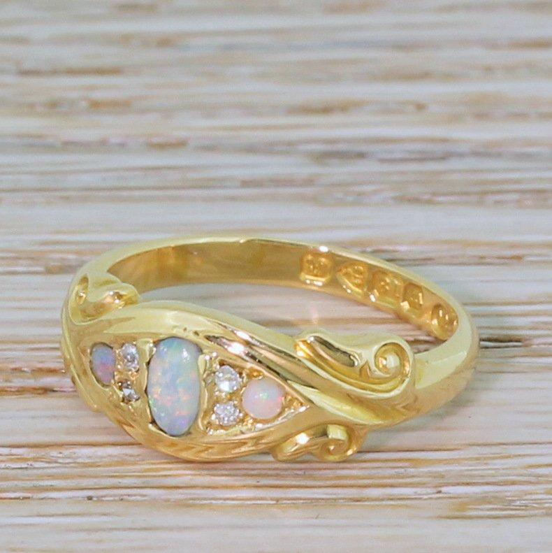 art nouveau opal 038 diamond ring dated 1901