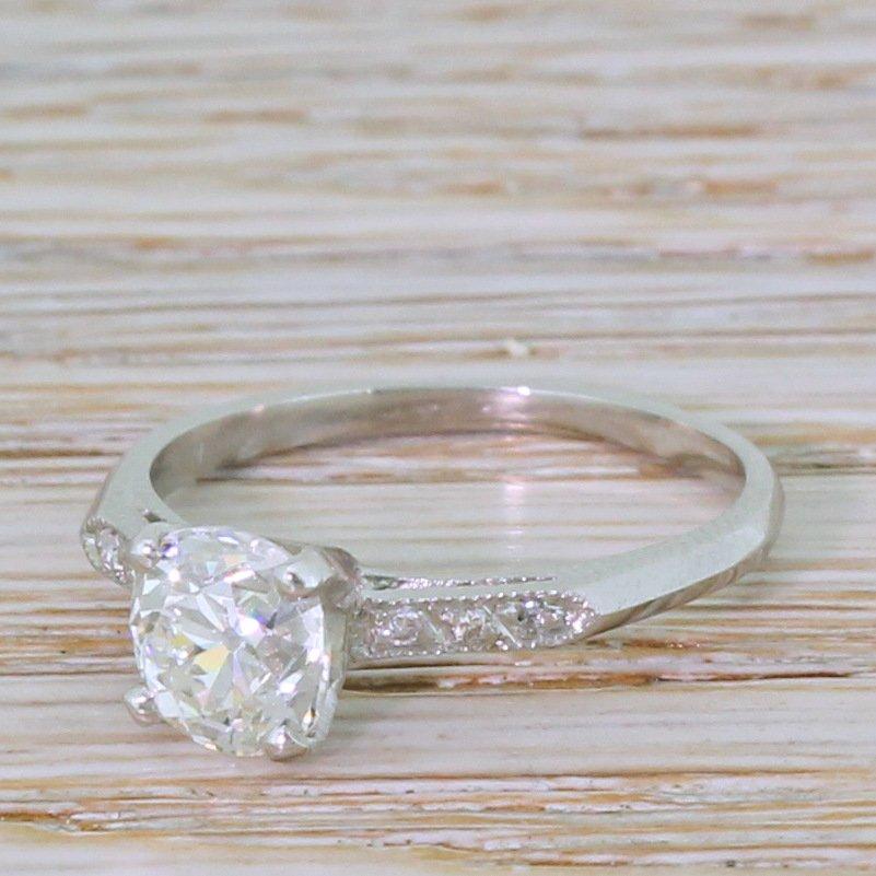 art deco 120 carat old cut diamond engagement ring circa 1920