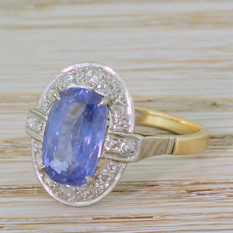 art deco 250 carat natural ceylon sapphire 038 rose cut diamond ring circa 1930